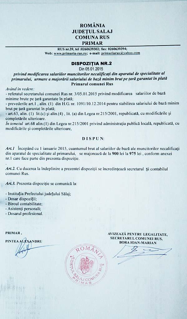 Rus-Dispozitia primarului nr.2-2015