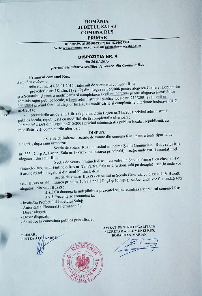 Rus-Dispozitia primarului nr4-2015